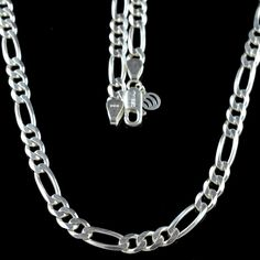 925 Solid SOLID STERLING SILVER 7mm MENS FIGARO ITALIAN CHAIN 20 inches 34gm #Handmade #Party