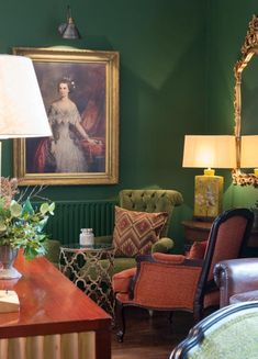 Illuminating every room - Skirting Boards and Chandeliers Industrial vintage lighting for every room in my home! Green Lounge, Dark Green Walls, Mahogany Furniture, Bar Interior Design, Vintage Industrial Lighting, Bohemian House, Bed Wall, Blue Bedding, Interior Photography