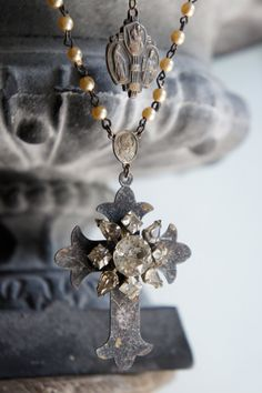 Lilies of the Field-Vintage assemblage necklace aged cross rhinestones religious medal assemblage jewelry - by French Feather Designs.