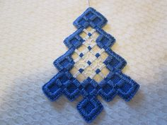 HARDANGER Tree Ornament Norwegian Embroidery Cut Work - CAD $10.28. A Hardanger tree ornament royal blue with royal blue and white - stitching. Size is 2-3/4 x 3-3/4 inches. Done by me. 192450190149