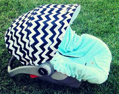 Infant Car Seat Cover- Black & White Chevron with Blue minky OR different colors available. $75.00, via Etsy.