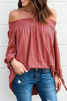 Lbduk Stylish Bateau Neck Striped Knot Cuff Shirt off shoulder loose fitting casual comfortable top #boho affiliate link