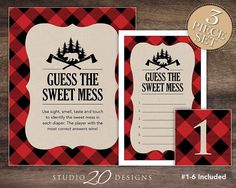 Instant Download Black and Red Buffalo Plaid Guess the Sweet Mess diaper game by Studio20Designs. 3 piece set. TO PLAY: smear 6 diapers with different foods (melted candy bars, baby food, etc.) and put them on display. Place a numbered tent card beside each diaper to identify it. Players will write their guesses on the game card next to the numbers that correspond with the numbered diapers. The player with the most correct answers wins! Perfect for a lumberjack baby shower!