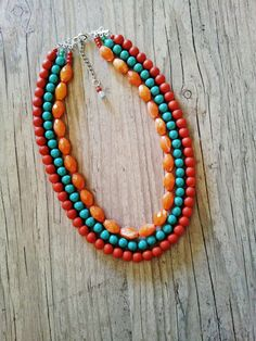 Statement necklace,orange statement tribal necklace with turquoise beads,Three strand statement necklace,Bright multicolor colorful necklace on Etsy, $38.00