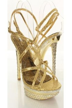 49.95 Shoehorne Joyce-09 - Womens Gold Rhinestone/Diamante Strappy ...