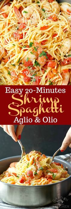 Easy Shrimp Spaghetti Aglio & Olio with fresh bites of tomato and pepper, lightly seasoned with garlic and topped with fresh parsley! Spaghetti Aglio Olio Recipe, Shrimp Spaghetti, Spaghetti Salad, Spaghetti Recipes, Seafood Dishes, Pasta Dishes, Seafood Recipes, Pasta Recipes, Cooking Recipes