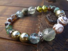 Pistachio and Pearl Mixed Gemstone Stretch by FeminineGenius