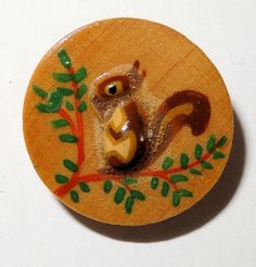 Vintage Button Squirrel Wooden Disk with Applied Wooden Design Medium 19.2mm -  Collector Note: 14.? And ?