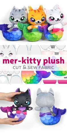 Make cute mermaid kitty plushies with this fabric kit from Spoonflower! Plushie Patterns, Doll Sewing Patterns, Sewing Toys, Sewing Crafts, Sewing Projects, Softie Pattern, Sewing Stuffed Animals, Stuffed Animal Patterns, Diy Y Manualidades