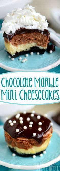 These easy Chocolate Marble Mini Cheesecakes are the perfect treat to make for a crowd! Creamy and decadent, these cheesecakes start with a chocolate crust, creamy chocolate marble cheesecake filling, and are topped with decadent chocolate ganache.
