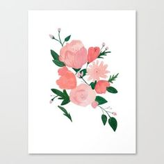 Delicate Watercolor Florals - Pink and Peachy Flowers Canvas Print Flower Canvas, Floral Watercolor, Painting Inspiration, Florals, Delicate, Canvas Prints, Pink, Art, Floral