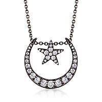 """""""1.89 ct. t.w. White Topaz Star and Moon Necklace in Sterling Silver with Black Rhodium. 18"""""""":… #Jewelry #ClearanceJewelry #DiscountJewelry"""