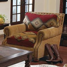 El Canelo southwestern chair from King Ranch Saddle Shop is perfect for updating… - Western Home Decor Living Room Southwestern Chairs, Southwestern Home Decor, Southwestern Decorating, Southwest Style, Western Furniture, Home Furniture, Funky Furniture, Furniture Ideas, Furniture Design