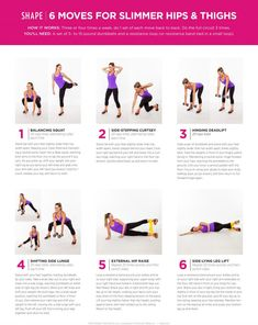 6_moves_for_slimmer_hips_and_thighs_0 Lose Fat, Lose Belly Fat, Lose Weight, Lower Belly, Best Weight Loss Exercises, Hip Slimming Exercises, Slim Hips, Shape Magazine, Thigh Exercises