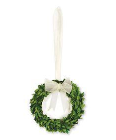 Porch & Petal White Ribbon Boxwood Wreath   zulily