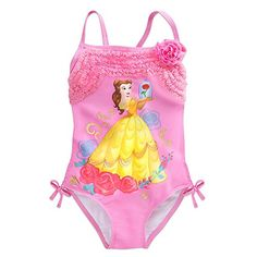 Disney Belle Swimsuit for Girls Size 3 Pink: Given a good book, she'll play poolside princess all summer long wearing Belle's floral themed one piece swimsuit accented by golden foil filigree, fabric rosette, and rows of ruffled mesh trim. Disney Belle, Fin Fun Mermaid Tails, Belle Beauty And The Beast, Beauty Beast, Fabric Rosette, Ruffle Swimsuit, Cute Bikinis, Disney Merchandise, Girl Costumes