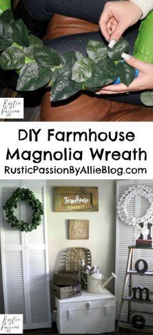 Magnolia Wreath, DIY wreath, DIY farmhouse decor, DIY magnolia wreath