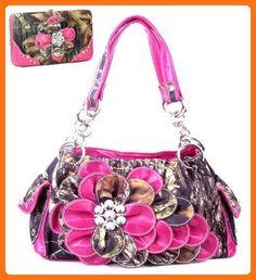 Western Pink Camouflage Flower Rhinestone Handbag W Matching Wallet - Wallets (*Amazon Partner-Link)