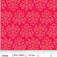 Riley Blake, Doodlebug Designs, Christmas Candy, Damask in Red, 1/2 Yard. $4.00, via Etsy.