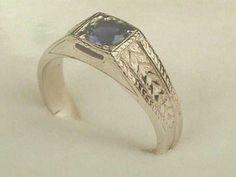 Art Deco 14K Mens White Yellow Gold Ring Mounting / Setting for 1 Carat 6.5 mm Round Diamond...Vintage Wedding Band Ring