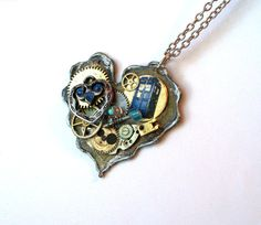 Doctor Who Necklace Two Gallifreyan Hearts by TimeMachineJewelry