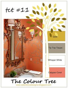 addINKtive designs: The Colour Tree #11 - Gold, Tip Top Taupe, Whisper White and Calypso Coral