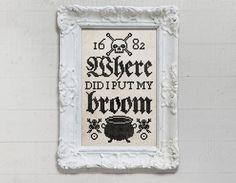 Where Did I Put My Broom: A Seasonal Cross Stitch Embroidery Chart - PDF Pattern Booklet