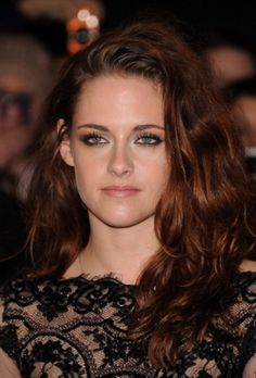 Kristen Stewart black lace outfit with red brown hair