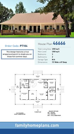 Southern House Plan 46666 Total Living Area 1901 SQ FT 3 bedrooms and 2 bathrooms This design features a true wraparound porch to shade you on those hot summer days Southern House Plans, Country Style House Plans, Ranch House Plans, Bedroom House Plans, New House Plans, Dream House Plans, Southern Homes, Small House Plans, House Floor Plans
