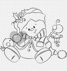 Christmas Scenes, Christmas Snowman, Cute Snowman, Whimsy Stamps, Digi Stamps, Christmas Drawing, Christmas Paintings, Cat Coloring Page, Coloring Books