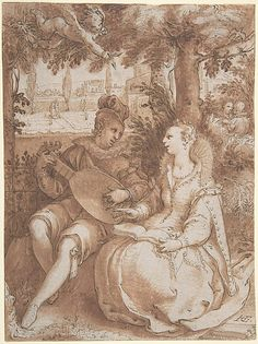 Hendrick Goltzius, (Netherlandish, 1558–1617). Spring, Drawing for Engraving of the Same Subject, ca. 1594.