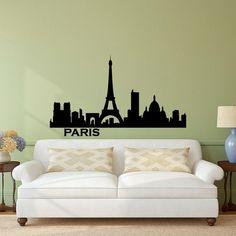 Parigi Skyline Wall Decal città sagoma Francia Parigi città Scape parete decalcomanie murales salotto camera da letto ufficio parete Art Home Decor C019