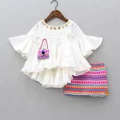 Pre Order: White Peplum With Embroidered Skirt Kids Dress Wear, Kids Gown, Kids Outfits Girls, Toddler Girl Dresses, Little Girl Dresses, Girl Outfits, Girls Dresses Sewing, Kids Frocks Design, Baby Frocks Designs