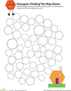 In this 3rd grade geometry worksheet, your child will practice identifying hexagons as he colors in all the hexagons on the page.