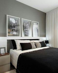 O boa noite de hoje será em forma de inspiração: quarto aconchegante com a paleta branco + preto + cinza. Bons sonhos, pessoal!   Pinterest #blogmeuminiape #meuminiape #apartamentospequenos #inspiração #quarto #quartopequeno #quartocasal #designdeinteriores #decoração