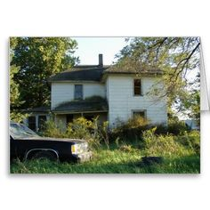 Abandoned House and Car Greeting Cards