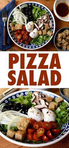 Vegetarian Pizza Salad - This ingenious recipe combines the flavors of pizza with the healthiness of salad to let you enjoy this beloved Italian dish in a 100% healthy way. // beachbody // beachbody blog
