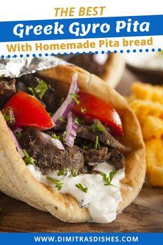 Pita Recipes, Lamb Recipes, Greek Recipes, Donair Meat Recipe, Gyro Meat Recipe Beef, Authentic Greek Gyros Recipe, Greek Pita Bread, Gyro Pita, Greek Dinners