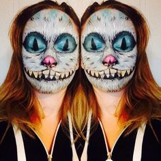 Cheshire Cat #Halloween face paint.