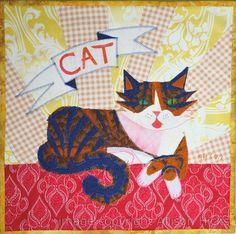 """""""Failcat"""" - custom appliqué pet portrait quilt by Allison Hicks. It may sound mean, but believe me-- Failcat earned her name!"""