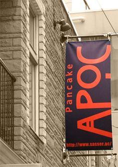 パンケーキハウスAPOC(南青山) Wayfinding Signage, Signage Design, Layout Design, Pole Banners, Leader In Me, Outdoor Signs, Flag Decor, Flag Design, Studios