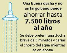 ¿#Sabiasque una buena ducha y no un largo baño puede ahorrar hasta 7.500 litros de agua al año? #DiaMundialdelAgua