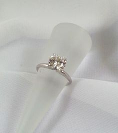Moissanite Engagement Ring 2 Carat Size 14K by TracyBDesignsAZ  #vintage #jewelry #teamlove