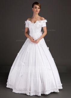 [€ 216.86] Duchesse-Linie Schulterfrei Bodenlang Satin Brautkleid mit Perlen verziert Applikationen Spitze Blumen