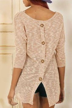 Stylish Scoop Neck 3/4 Sleeve Button Design Slit Knitwear For Women