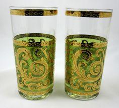 Culver Emerald Green Baroque Scroll 2 High Ball Glasses 22K Gold Mid Century Mod #FlatTumbler