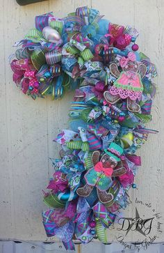 Sweet Treat Deco Mesh Candy Cane Wreath
