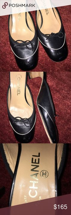 """Chanel black mules 2.5"""" heels Very nice Chanel slip on mules with a white detail and small bows made in Italy of course very nice have a lot of life left in them the soles are soiled as they do on first wear! CHANEL Shoes Mules & Clogs"""