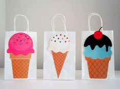 Ice Cream Goody Bags by CraftyCue on Etsy https://www.etsy.com/uk/listing/195919561/ice-cream-goody-bags