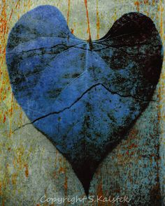 Heart Photograph Blue Photography Dark Heart Print Metallic Blue Gray Black Wall Art 8x10